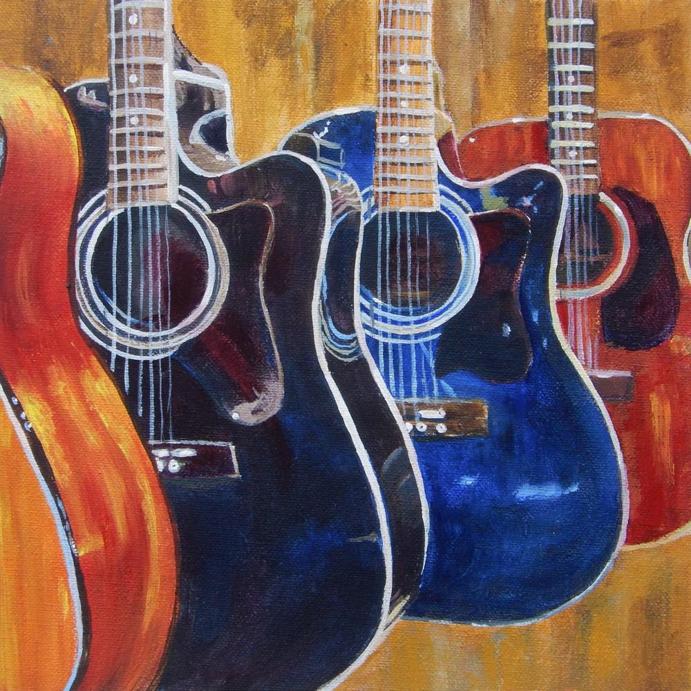 """Guitars in a Row"" original fine art by Diane Hutchinson"