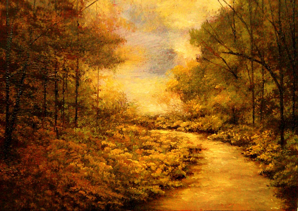 """A Curved Trail in the Woods"" original fine art by Bob Kimball"