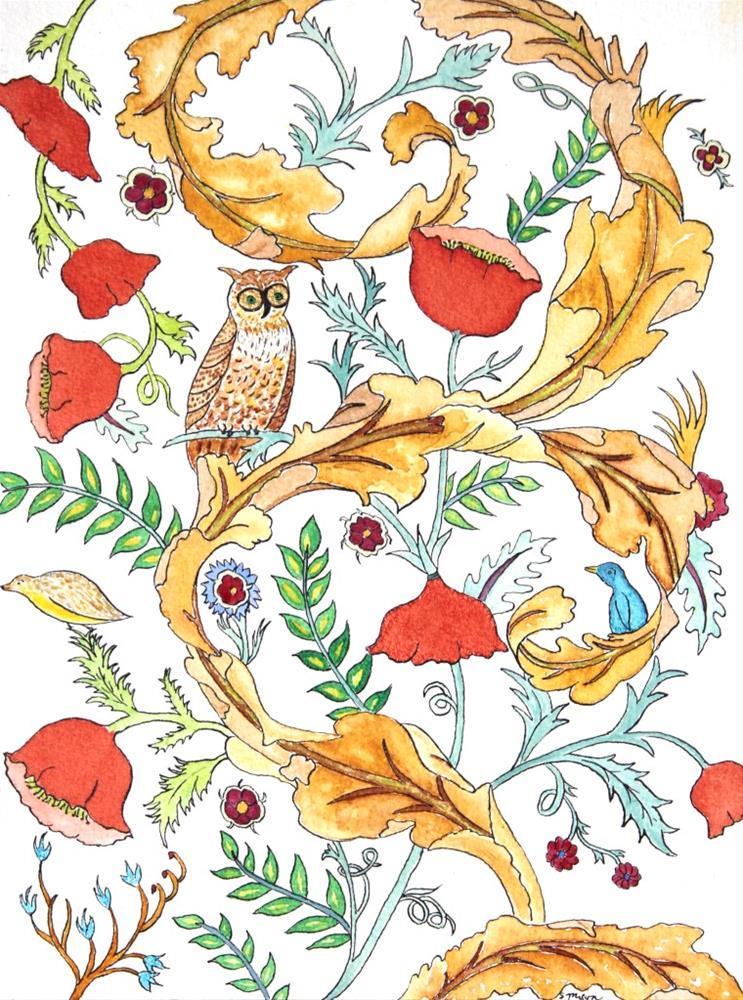 """""""Owling"""" original fine art by Susan Medyn"""
