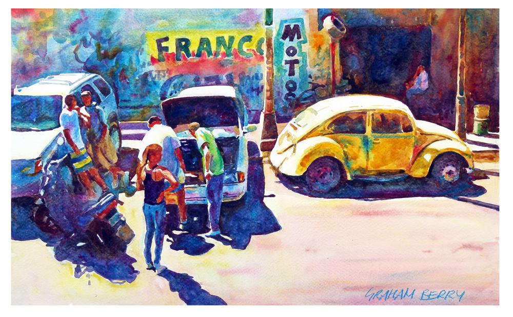 """Yellow beetle"" original fine art by Graham Berry"