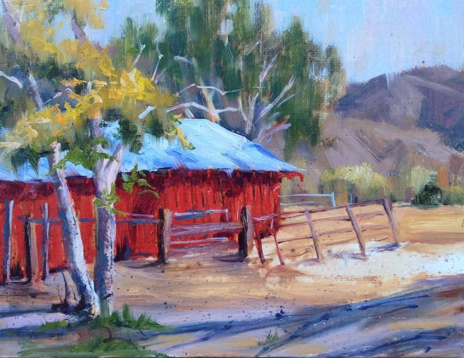 """Leona Valley Red Barn 2"" original fine art by gabriele baber"