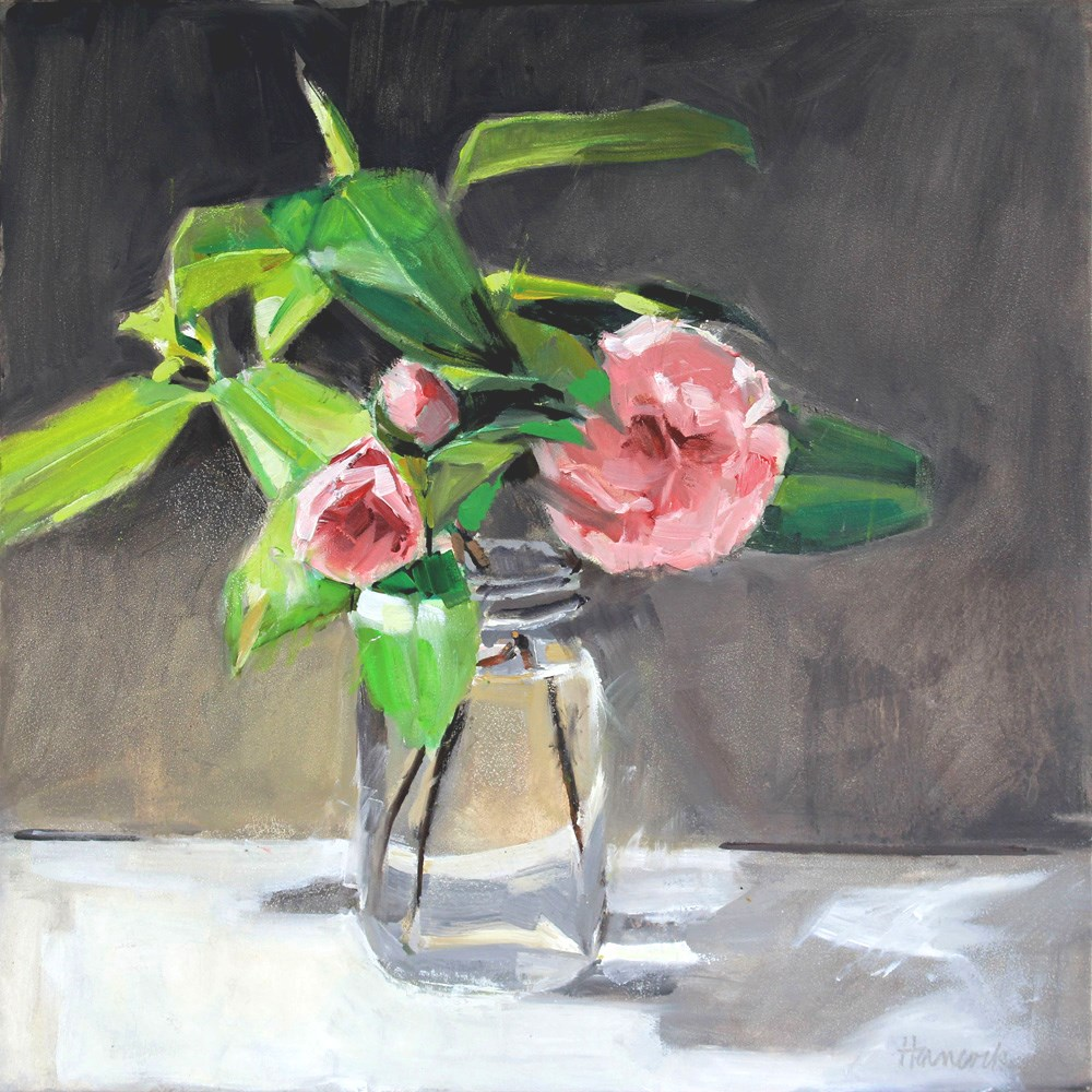 """Pink Camellias on Gray"" original fine art by Gretchen Hancock"