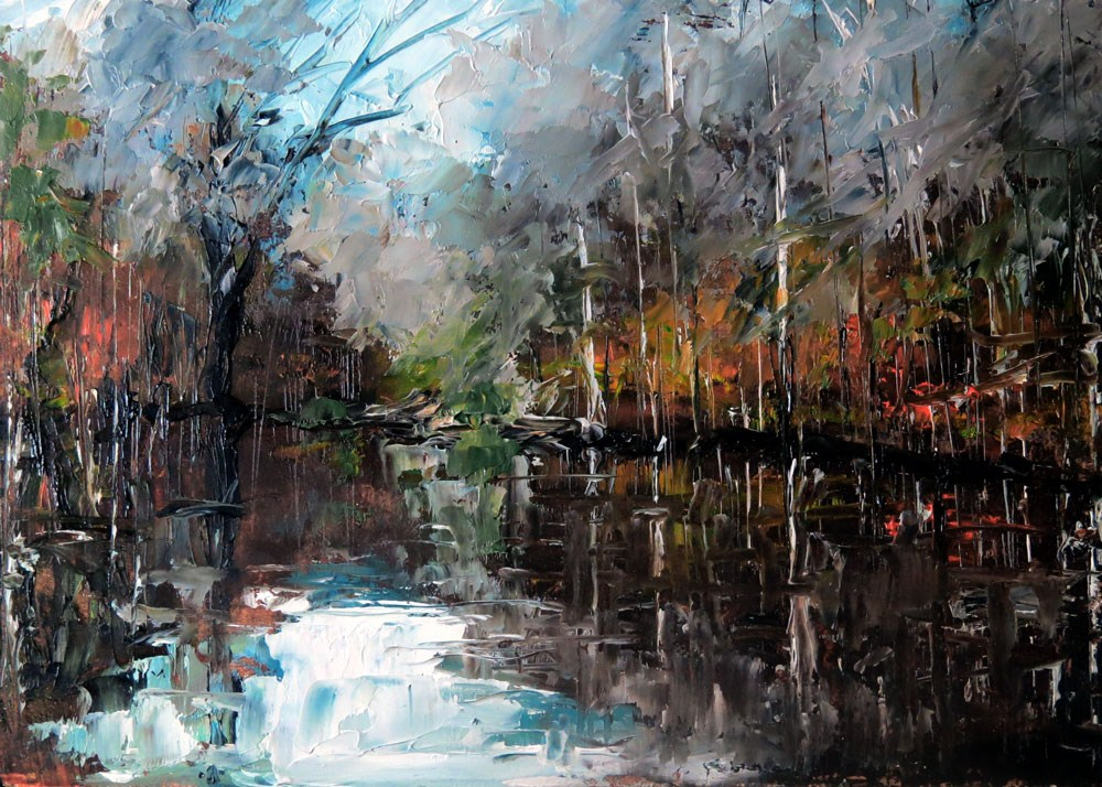"""October Lake"" original fine art by Bob Kimball"