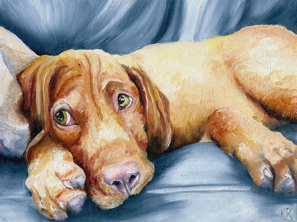 """Vizsla (puppy)"" original fine art by Karen Robinson"