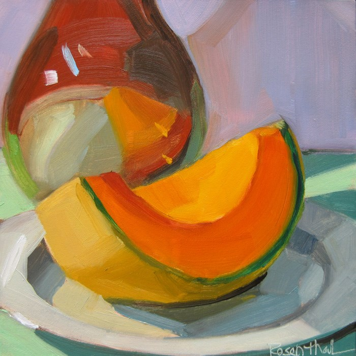 """Cantaloupe and Brown Bottle"" original fine art by Robin Rosenthal"