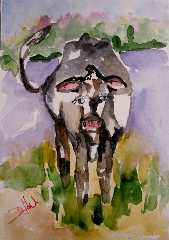 """Cow"" original fine art by Delilah Smith"