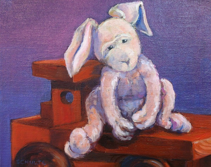 """Sad Bunny Auction to benefit Newtown Families"" original fine art by Lynne Schulte"