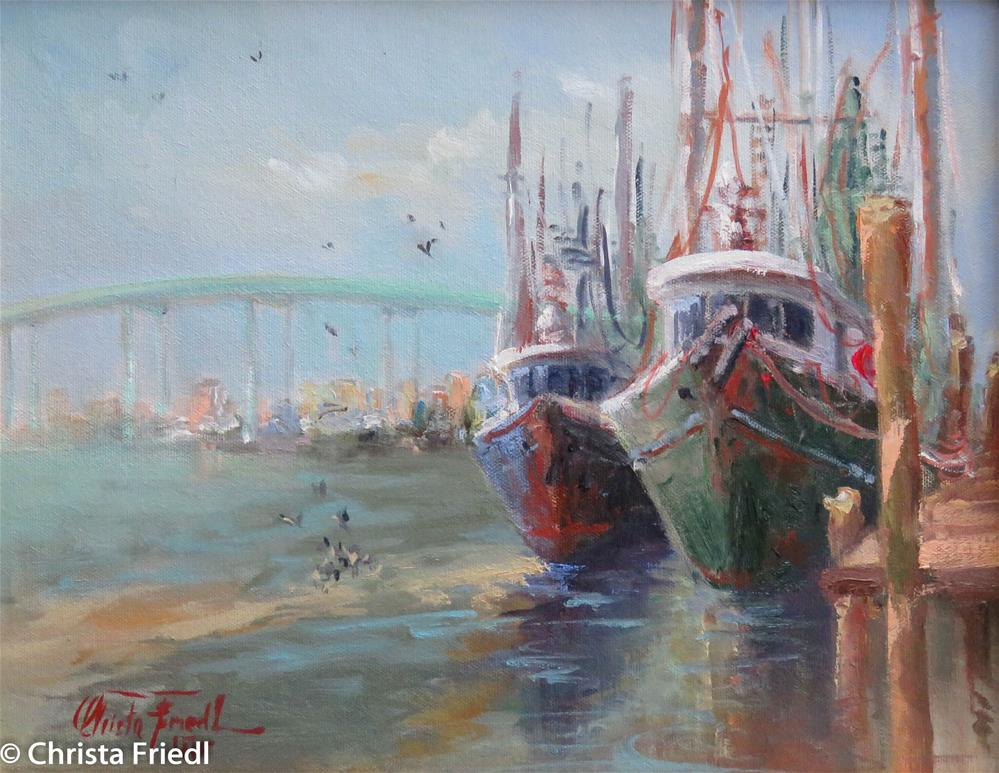 """Shrimp Boats at Fort Myers Beach"" original fine art by Christa Friedl"