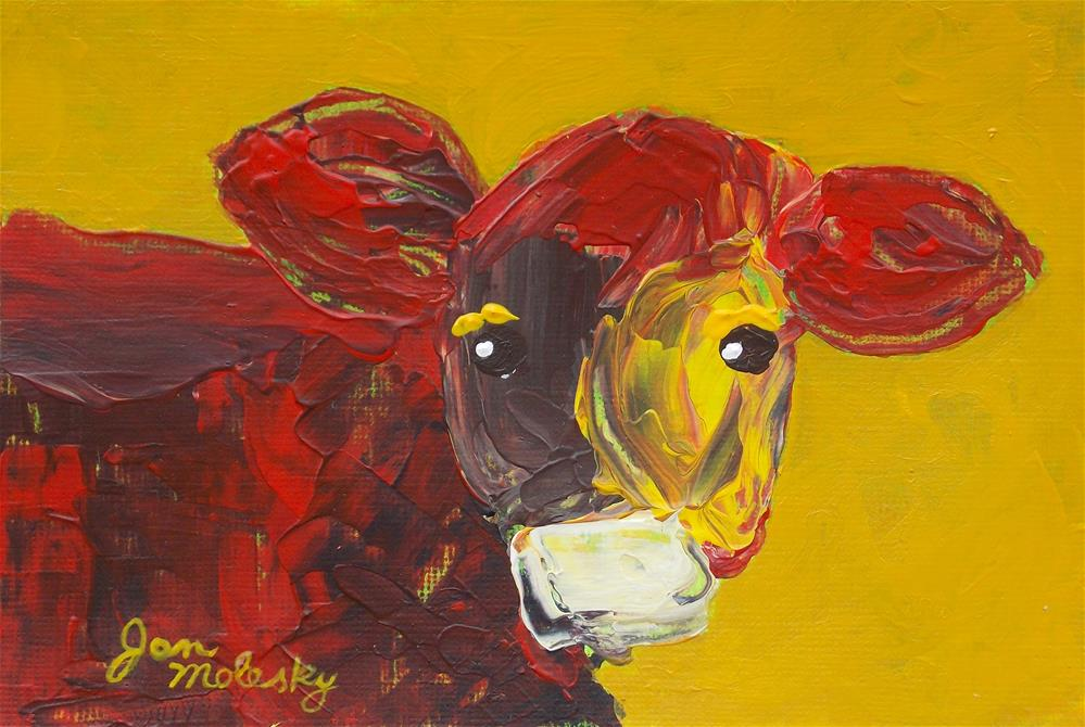 """Petunia the Calf"" original fine art by Jan Molesky"