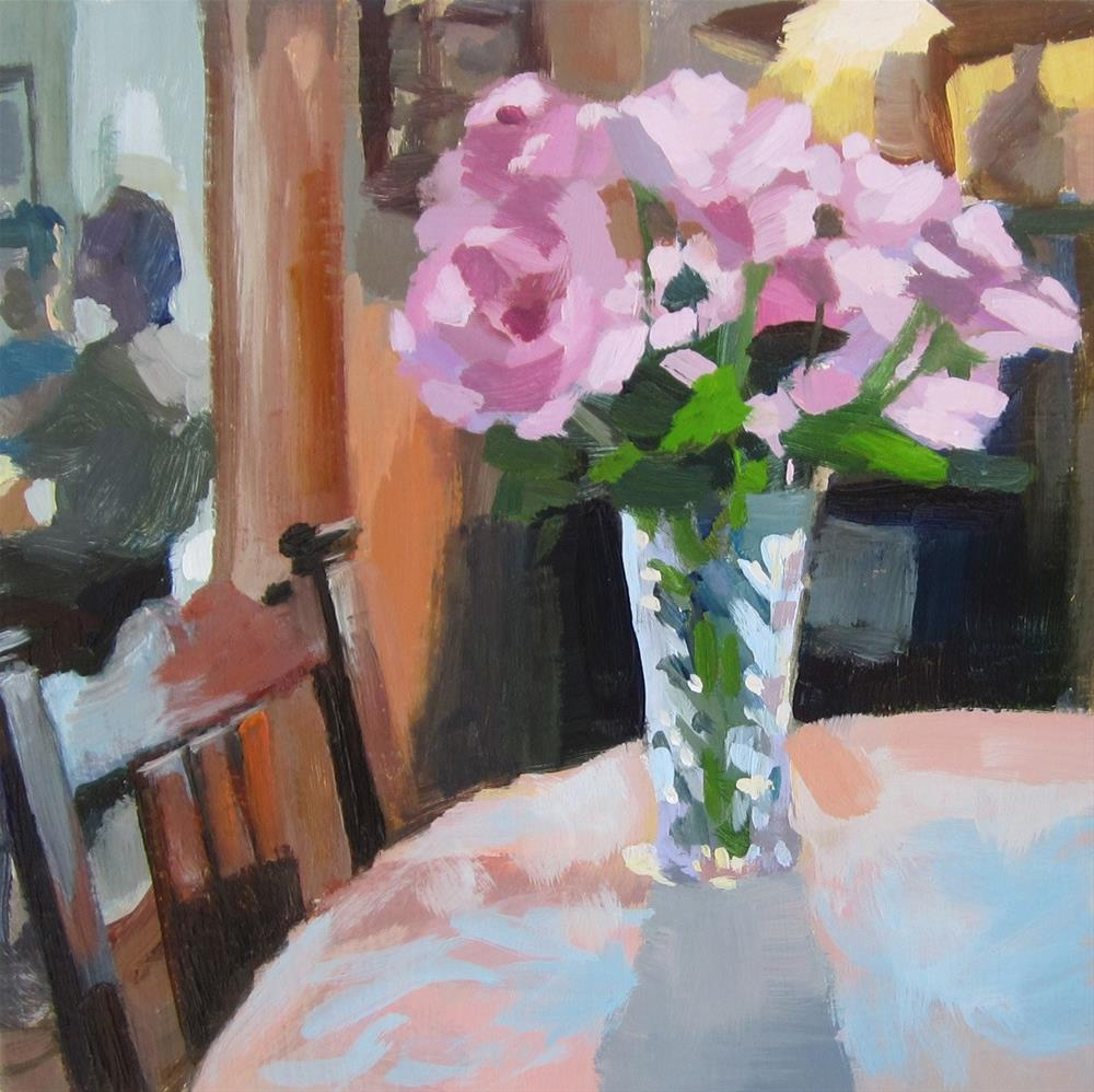 """Pink roses on table"" original fine art by Kaethe Bealer"