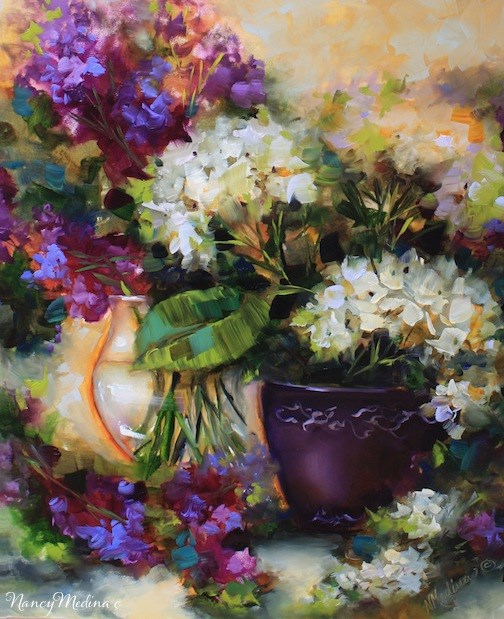 """Paradise Garden Hydrangeas and a New 2-Day Flower Painting Workshop by Nancy Medina"" original fine art by Nancy Medina"