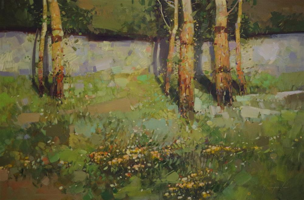 """Birches, Landscape oil Painting, Handmade art, Signed with Certificate of Authenticity "" original fine art by V Y"