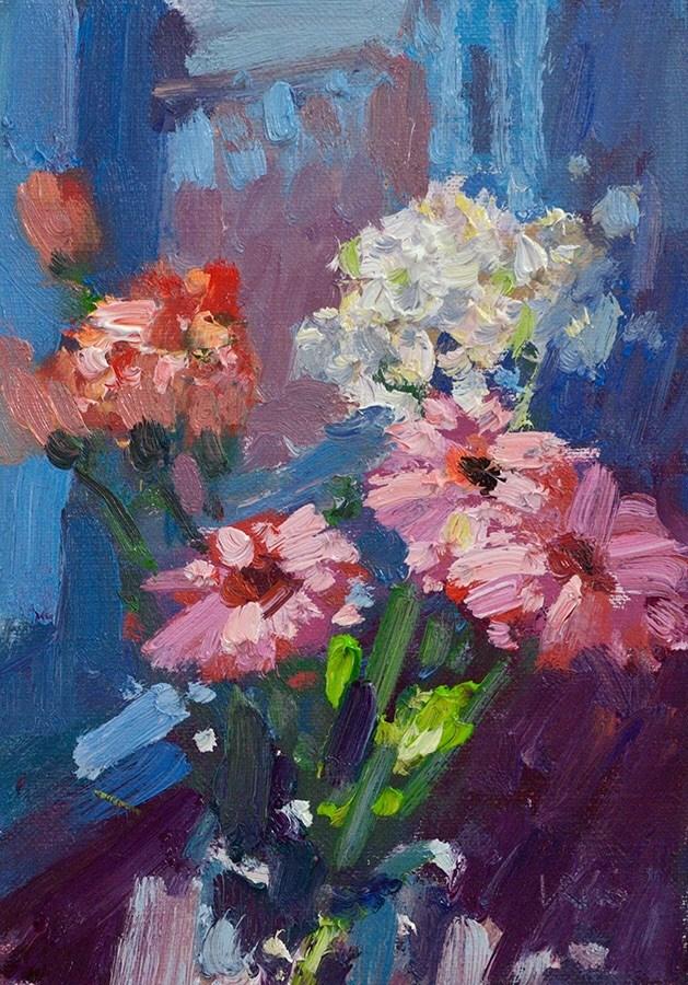 """""""Flowers bathing in the sun"""" original fine art by Lena  Rivo"""