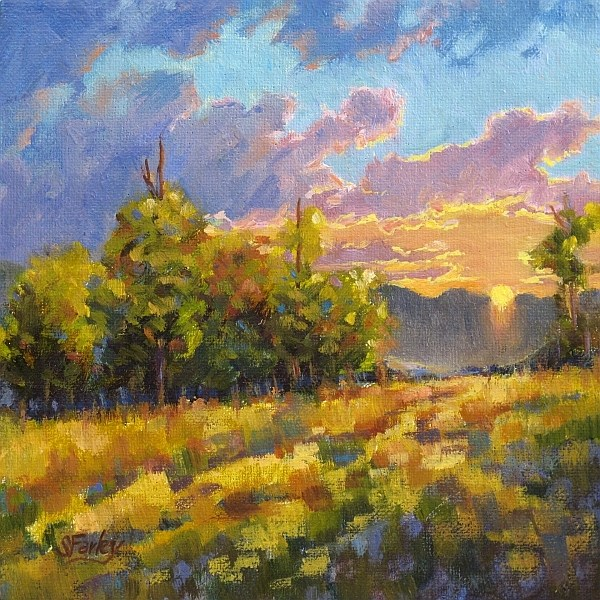 """San Francisco Peaks Sunrise"" original fine art by Sandy Farley"