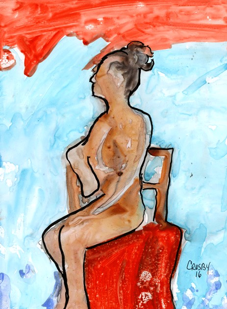 """Seated Red Chair"" original fine art by Donna Crosby"