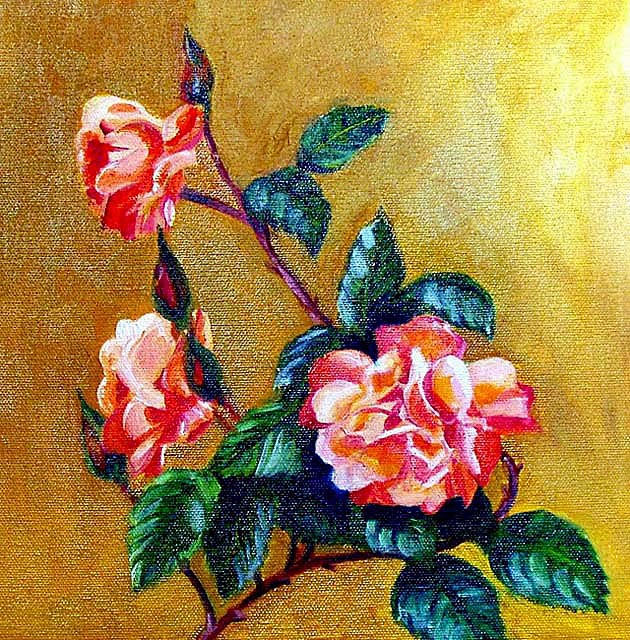 """Apricot Roses"" original fine art by Cietha Wilson"