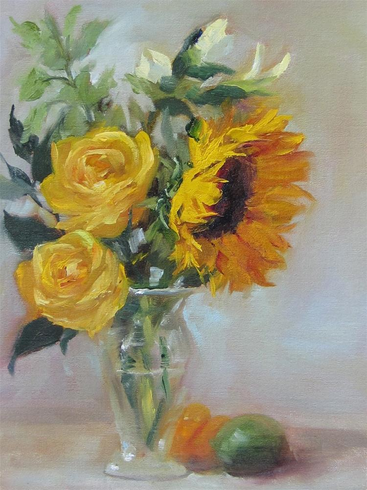 """Sunflowers & Roses"" original fine art by Pat Fiorello"