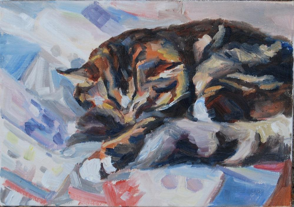 """Patchwork Kitty"" original fine art by Carol DeMumbrum"