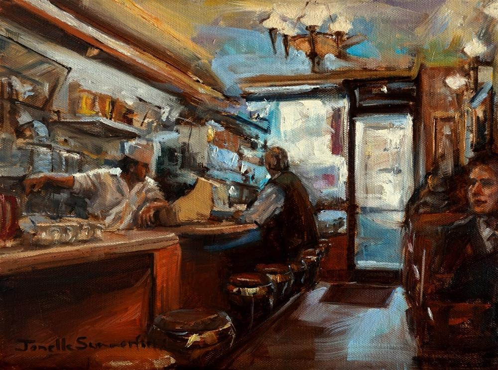 """New York City Cafe"" original fine art by Jonelle Summerfield"