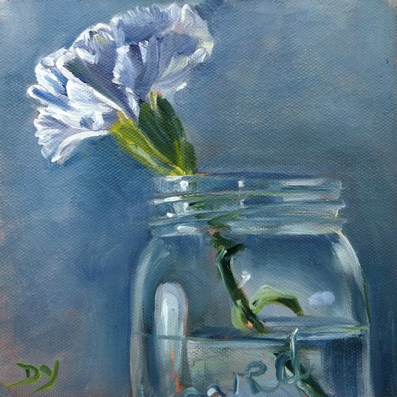 White Carnation, oil on canvas board, 6x6 original fine art by Darlene Young