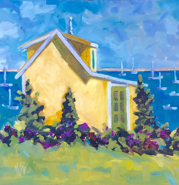 """Provincetown The Finial Cottage 12x12  this painting is in an auction at Provincetown Art Association and Museum"" original fine art by Mary Sheehan Winn"
