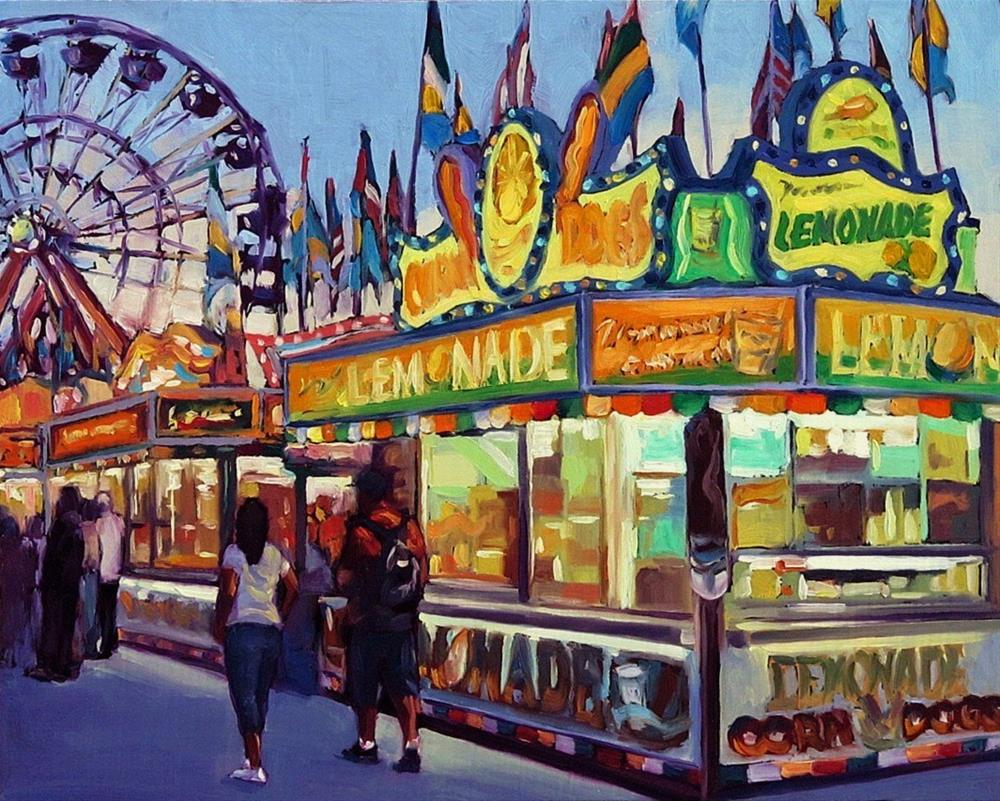 """Eat Drink & Play--Series Painting of Fair Food Booth"" original fine art by Joanna Bingham"