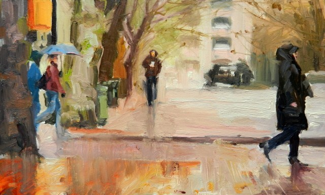 """Walking in the Rain Seattle city, urban oil painting by Robin Weiss"" original fine art by Robin Weiss"