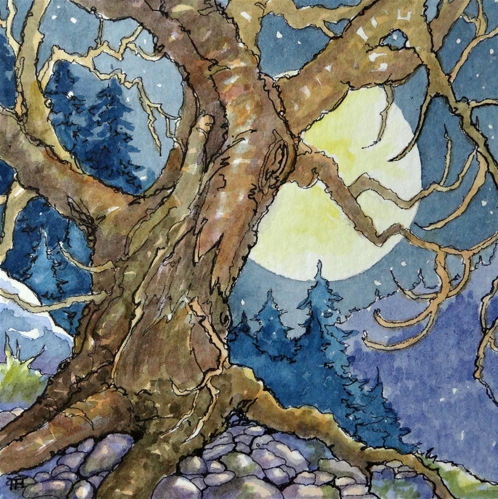 """A Misson Moon miniature Watercolor"" original fine art by Alida Akers"