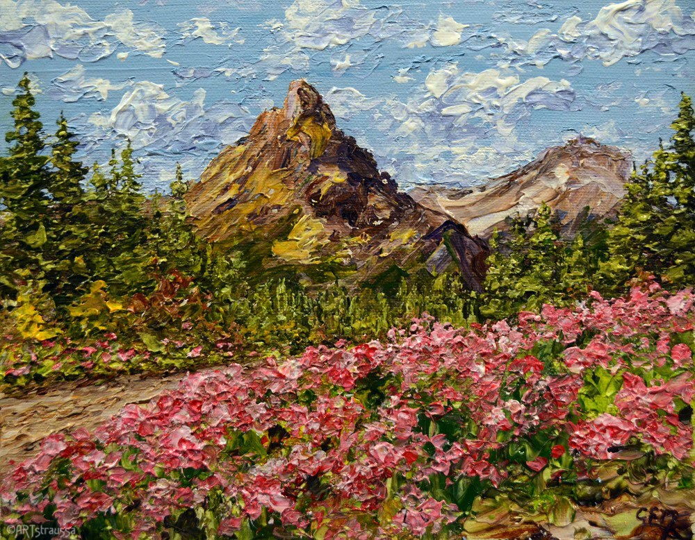 """Pink In Montana (charity)"" original fine art by Gloria Ester"