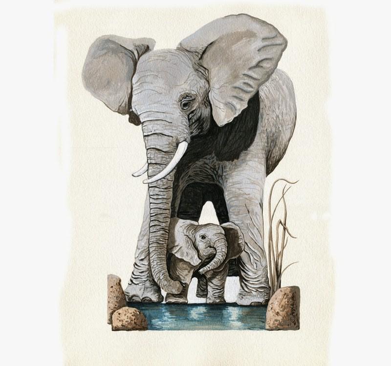 """Elephants - Original wildlife painting Save Earth Series"" original fine art by Linda Apple"