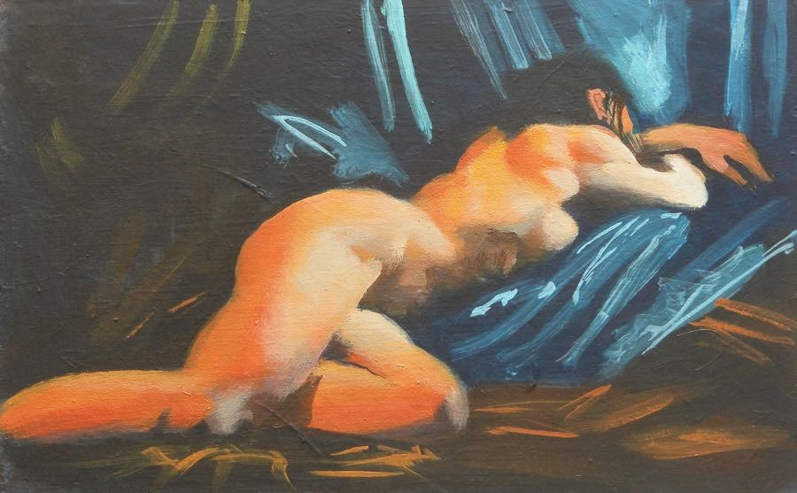 """Reclining"" original fine art by Peter Orrock"