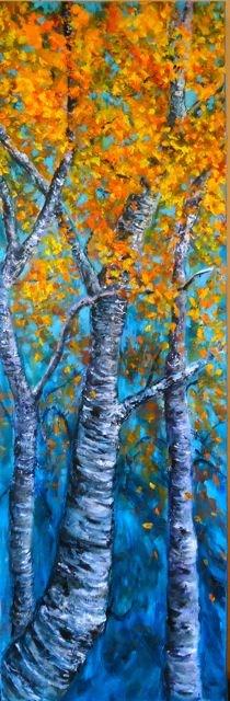 """Impasto Yukon Aspens"" original fine art by Jackie Irvine"