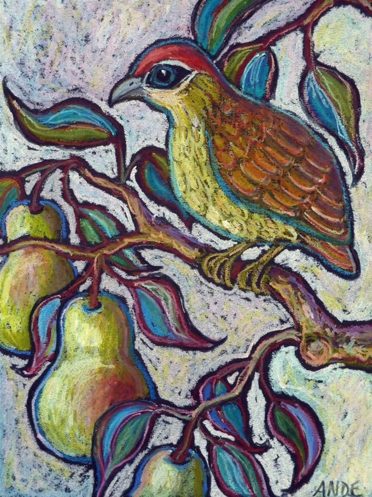 """Partridge in a Pear Tree 2"" original fine art by Ande Hall"
