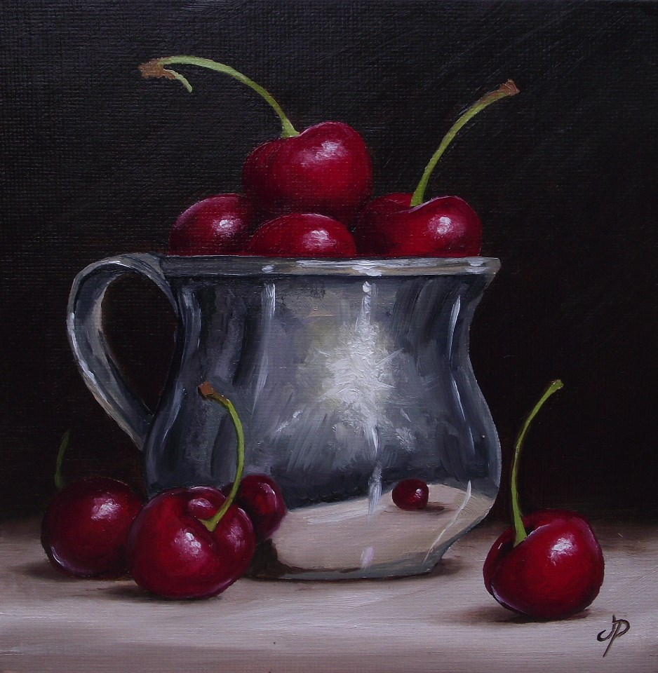 """Silver cup with Cherries"" original fine art by Jane Palmer"