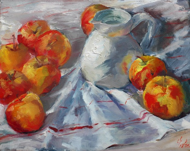 """Cruche et pommes"" original fine art by Evelyne Heimburger Evhe"