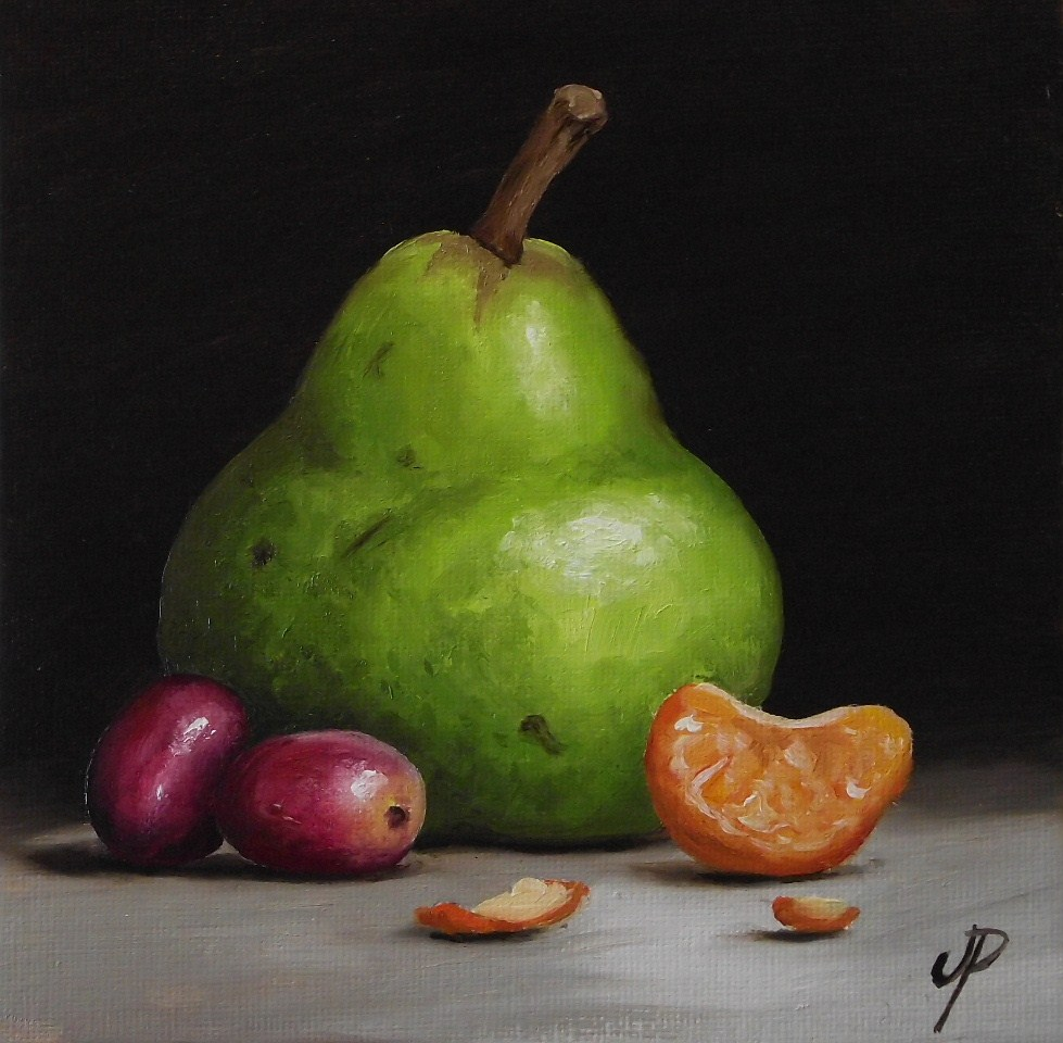 """Pear with fruits and a little Pear"" original fine art by Jane Palmer"
