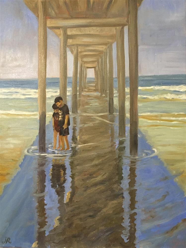 """""""Under the Scripps Pier, La Jolla"""" original fine art by Natasha Ramras"""