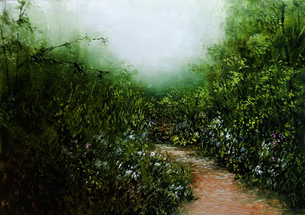 """A Path with Flowers"" original fine art by Bob Kimball"