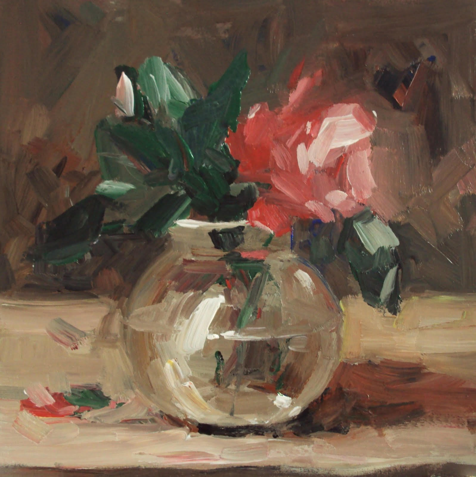 """red rose in a glass vase"" original fine art by Parastoo Ganjei"