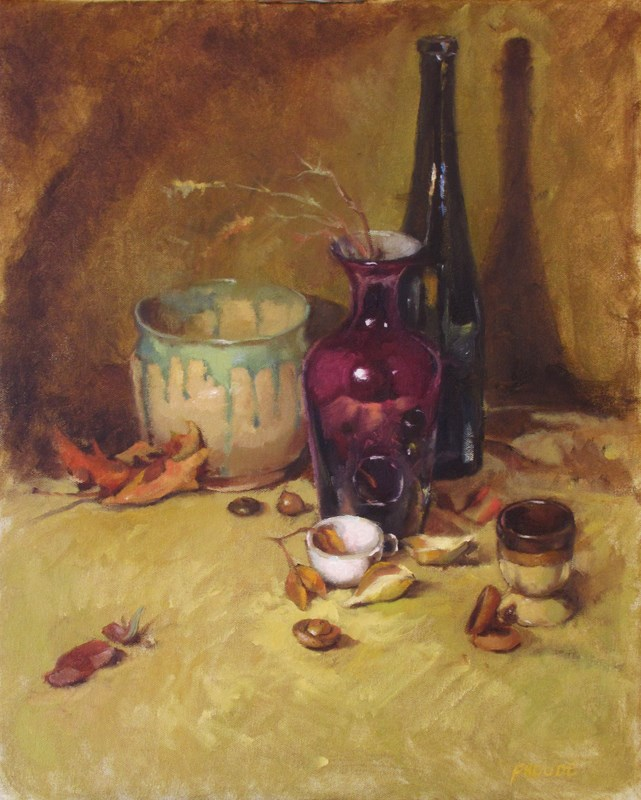 """White cup and acorns"" original fine art by Dave Froude"