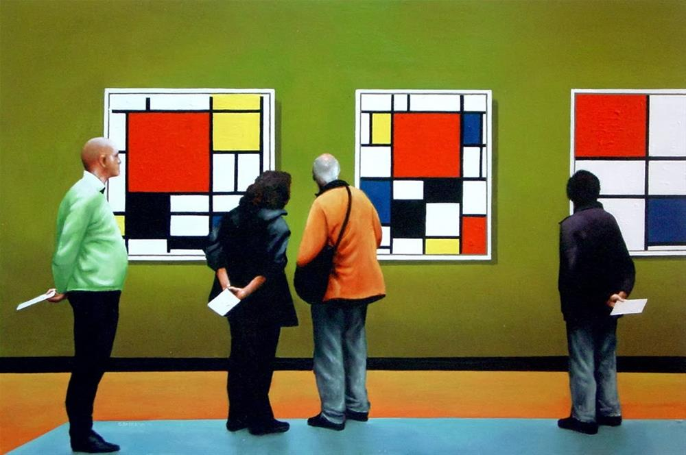 """Mondriaan Paintings- People Enjoying Paintings By Piet Mondriaan In Museum"" original fine art by Gerard Boersma"