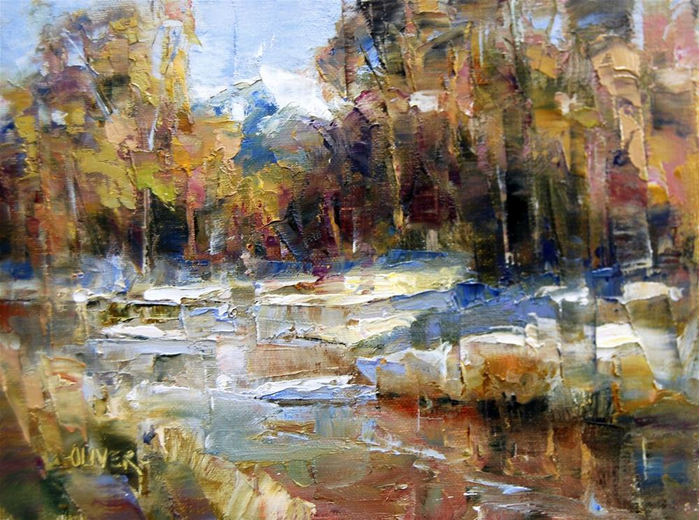 """First Snow Along the River"" original fine art by Julie Ford Oliver"