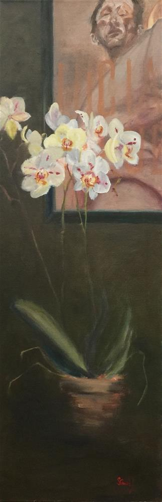 """Lucian Freud with Orchid"" original fine art by Stephanie Drawdy"