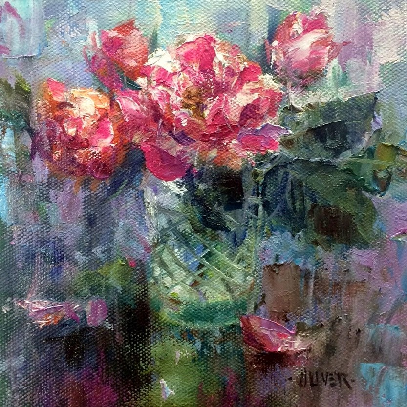 """Peppermint Roses and Solution!"" original fine art by Julie Ford Oliver"
