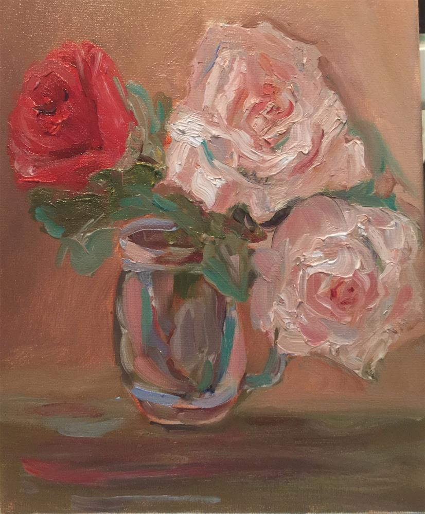 """Roses and mason jar"" original fine art by Laura Darnell"