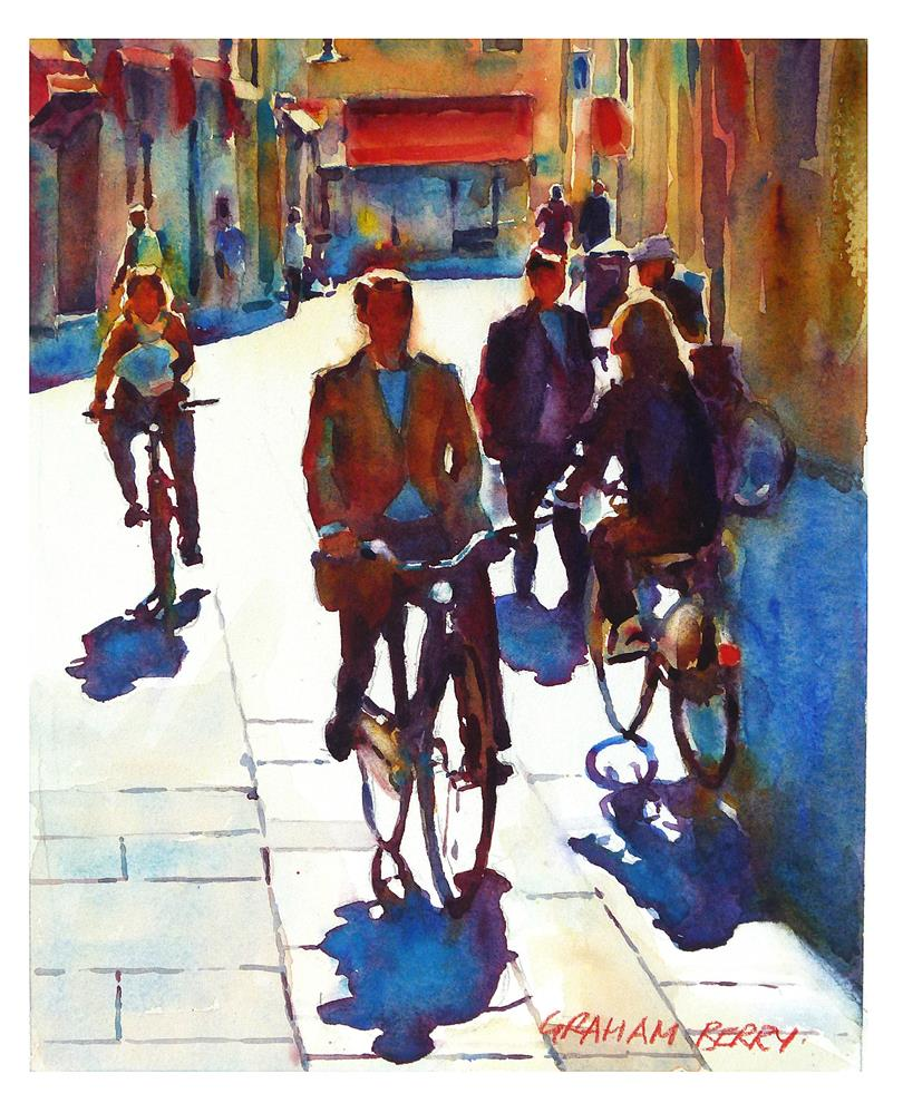 """Cycling in the city."" original fine art by Graham Berry"