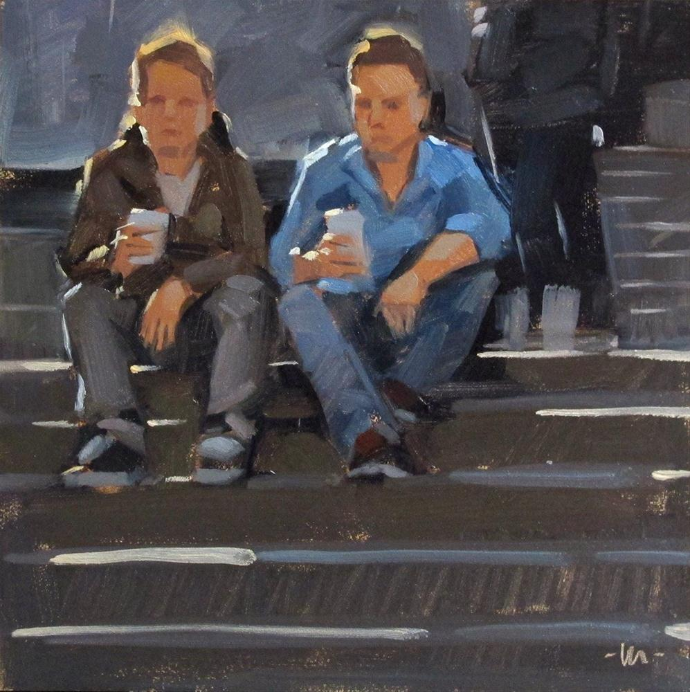 """Dudes Having Coffee"" original fine art by Carol Marine"