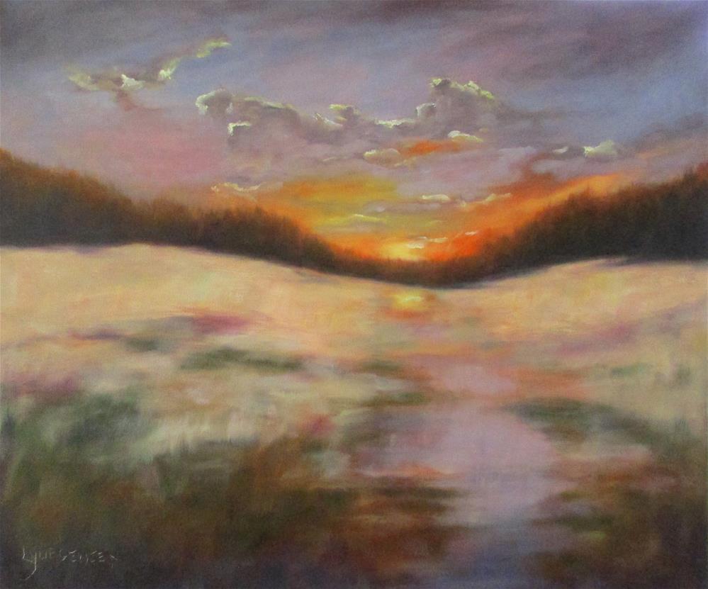 """20 x 24 inch oil Winter's Glow"" original fine art by Linda Yurgensen"