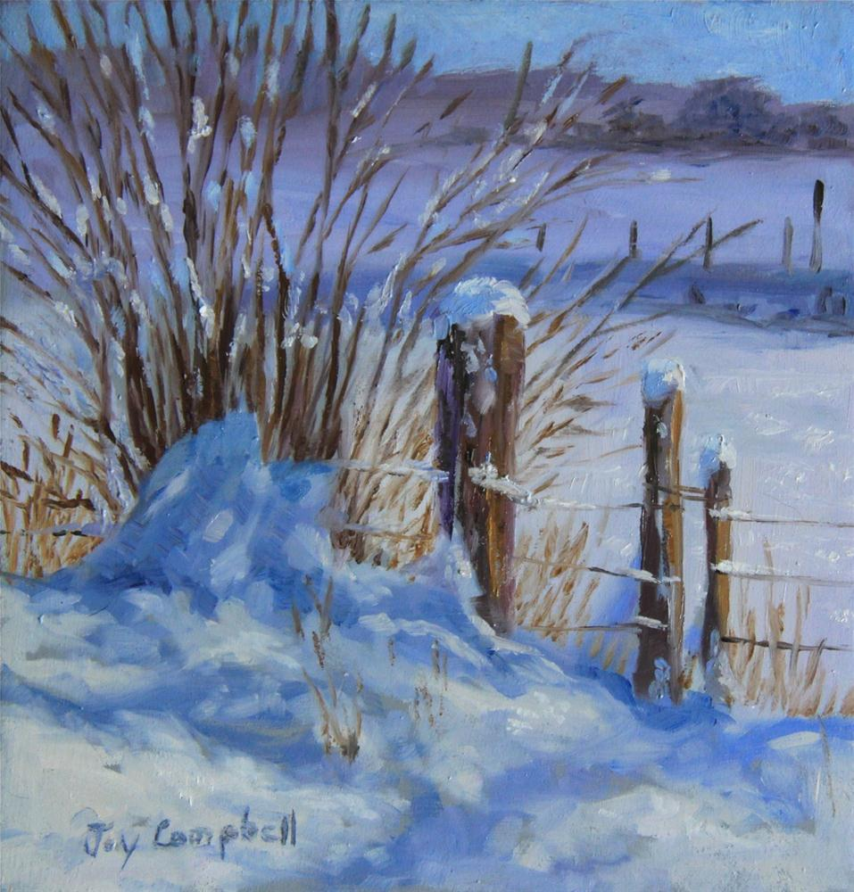 """Winter Fence-Line"" original fine art by Joy Campbell"