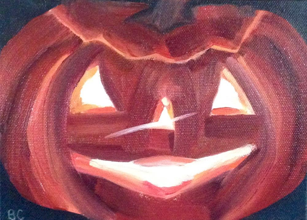 """Jack-O-Lantern"" original fine art by Bobbie Cook"